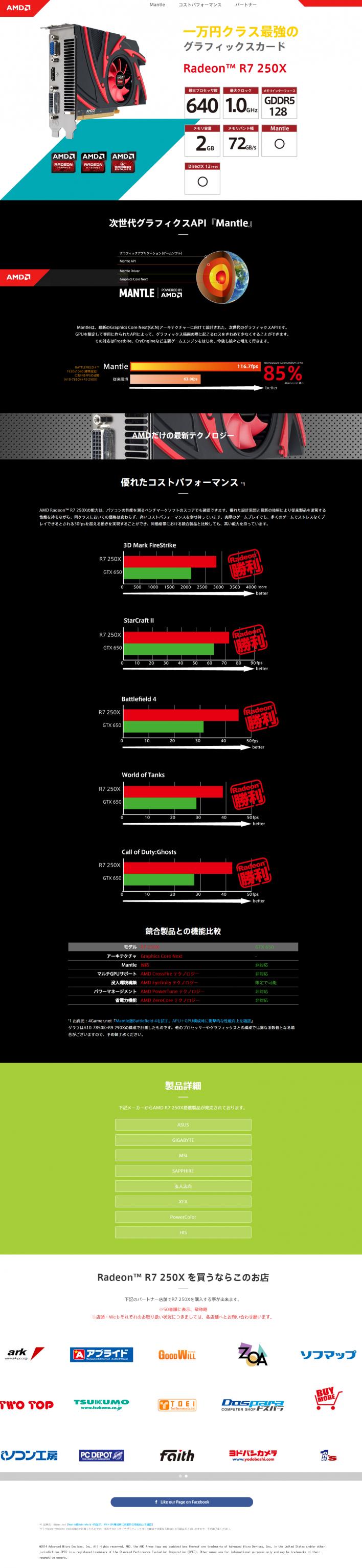 一万円クラス最強のグラフィックスカード AMD Radeon TM  R7 250X